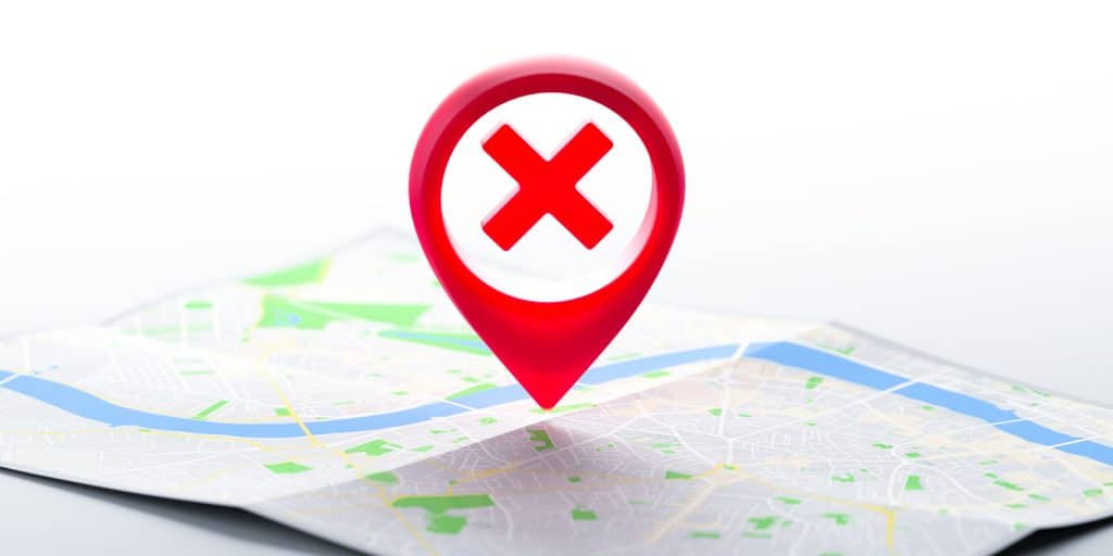 Geo Tag Pin With Prohibition Sign - Privacy Tips for Facebook